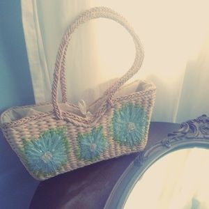 Straw Purchase Handbag - Lovely. Floral. Straw.